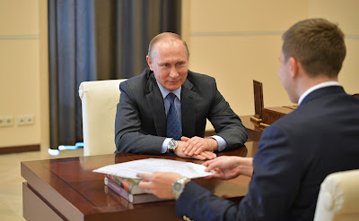 Vladimir Putin with chess player Sergei Karyakin.