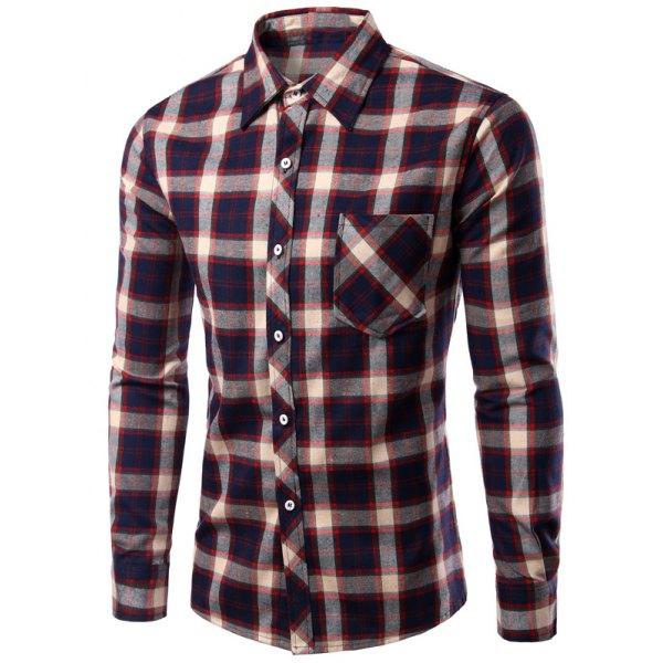 Turn-Down Collar Long Sleeve CheckedPrint Shirt For Men - Brown Xl