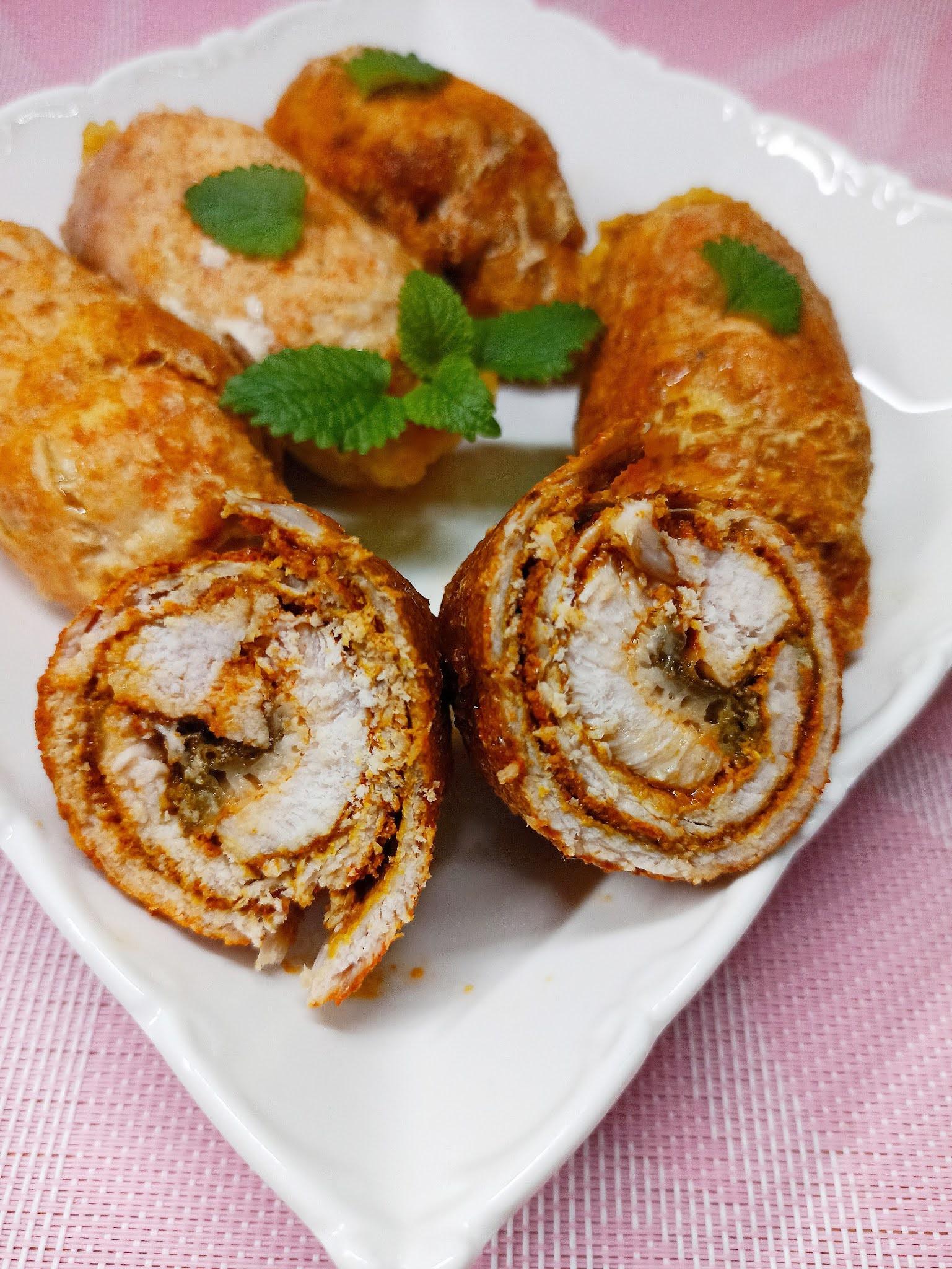 Roladki schabowe z kurczakiem i mozzarellą