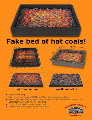 Fake bed of Coals, Photo prop