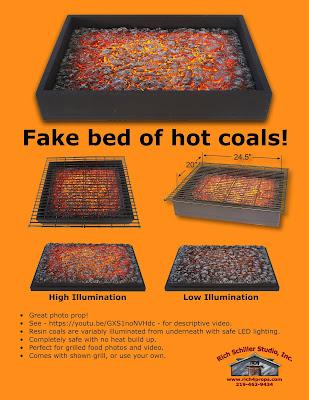 Fake bed of Coals, Photo prop
