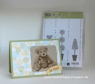 gestempelter Hintergrund mit dem Stempelset Genial vertikal von stampin up für eine Babykarte