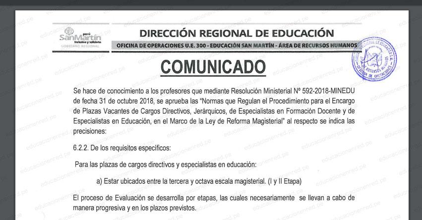 DRE San Martín: Cronograma Encargatura de Plazas de Cargos Directivos, Jerárquicos y de Especialistas (R. M. N° 592-2018-MINEDU) www.dresanmartin.gob.pe