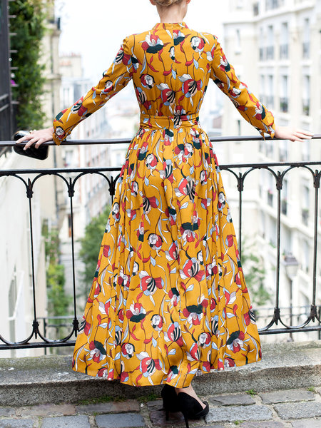 Yellow Floral-print Shirt Collar Chiffon Swing Maxi Dress