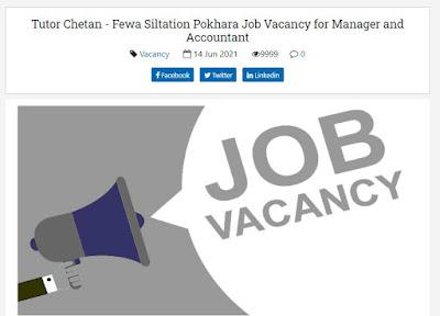 Tutor Chetan - Fewa Siltation Pokhara Job Vacancy for Manager and Accountant