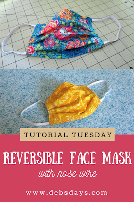 Reversible Cloth Fabric Face Mask with Nose Wire Sewing Project
