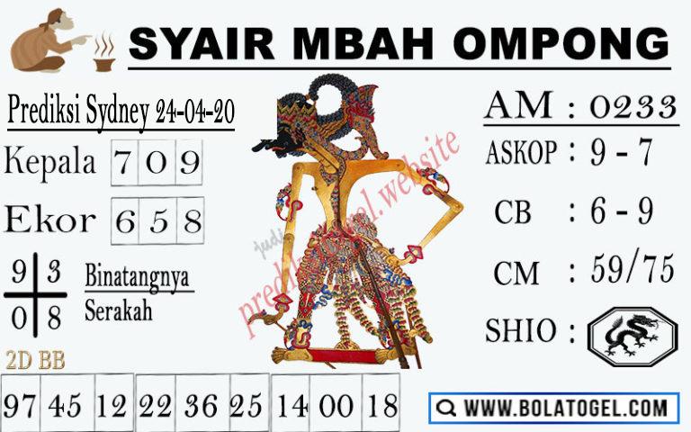 Prediksi Sidney 24 April 2020 - Syair Mbah Ompong