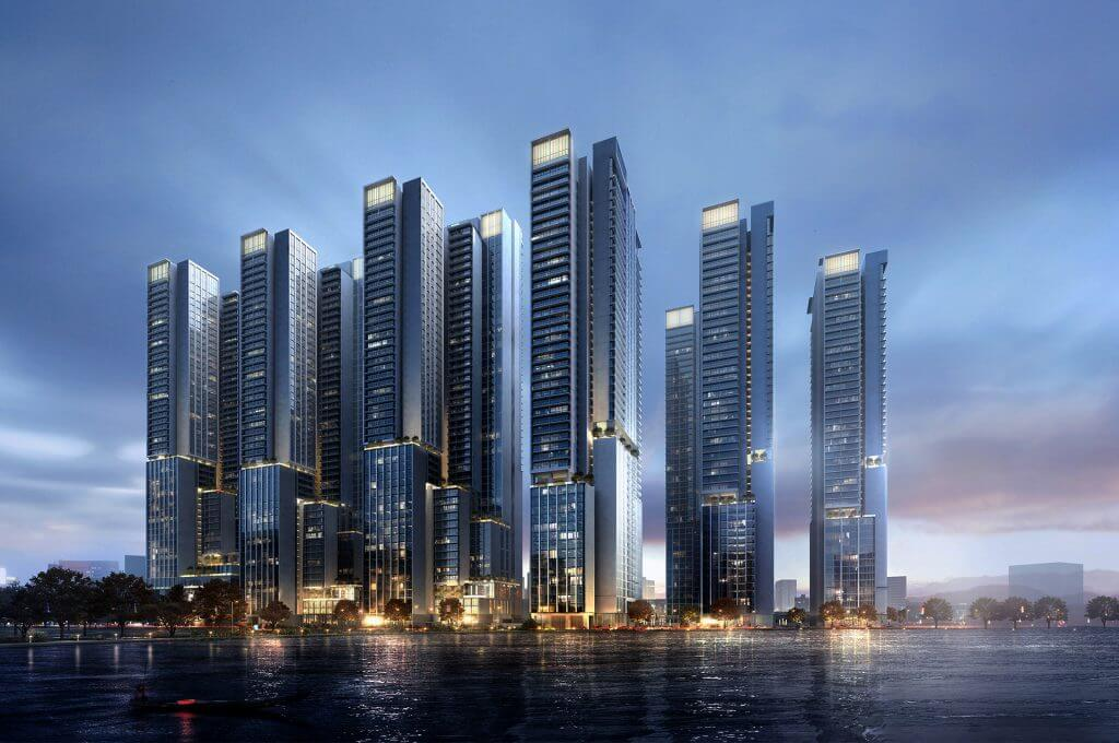Phối cảnh dự án chung cư Tân Hoàng Minh Giảng Võ từ hướng hồ Giảng Võ