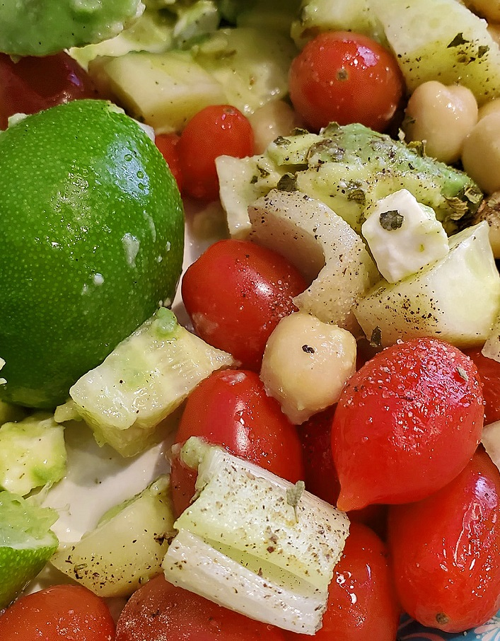 this is a medley of vegetables, avocado with fresh lime