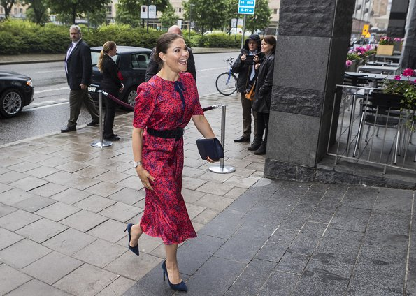 Princess Victoria wore Ralph Lauren Suede Celia Pump and carried Quidam Clutch. The dress worn by Princess Victoria is an old dress of her mother Queen Silvia