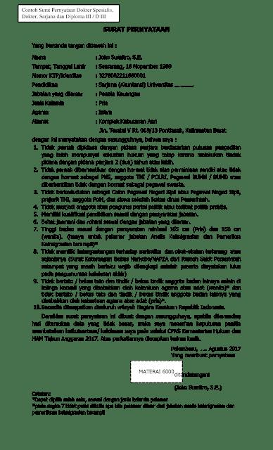 Format Contoh Surat Pernyataan CPNS Kementerian Hukum Dan HAM 2017