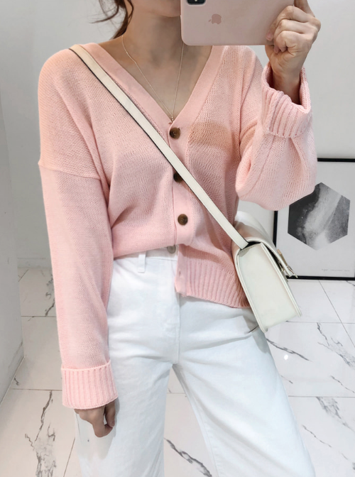 V-Neck Button-Front Knit Cardigan