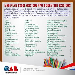 Lista de materiais escolares que a escola não pode pedir