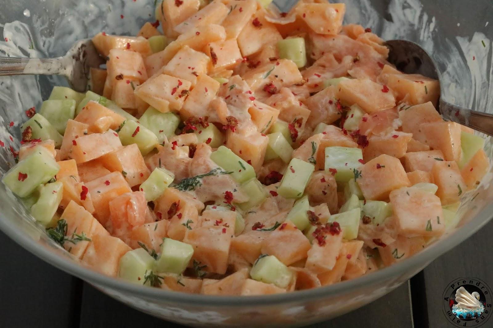 Salade saumon fumé au melon