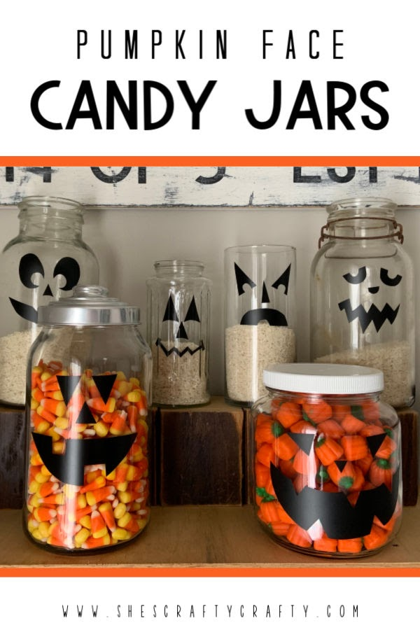 Halloween Pumpkin Face Candy Jars |  These candy jars are a breeze to whip up and look good to store your Halloween treats