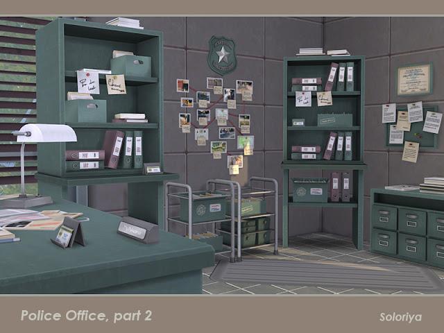 Police Office, part 2 Отделение полиции, часть 2 для The Sims 4 Полицейское управление, часть вторая. Имеет 3 цветовых вариации и включает 10 предметов. Предметы в наборе: - кабина - две офисные тележки - настенная доска с нотами - криминальная стена - знак полиции - сертификат - две офисные коробки с документами - офисные файлы. Автор: soloriya