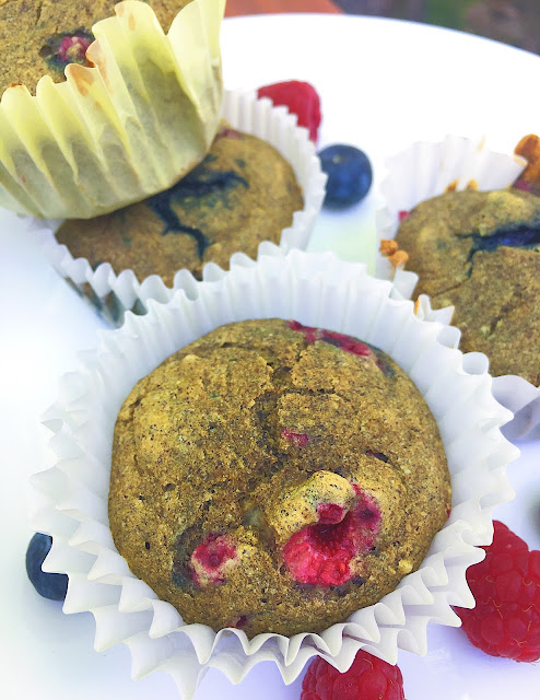 "Triple Berry ""Whole Grain"" Gluten Free Muffins (Vegan, Oil Free, Refined Sugar Free)"
