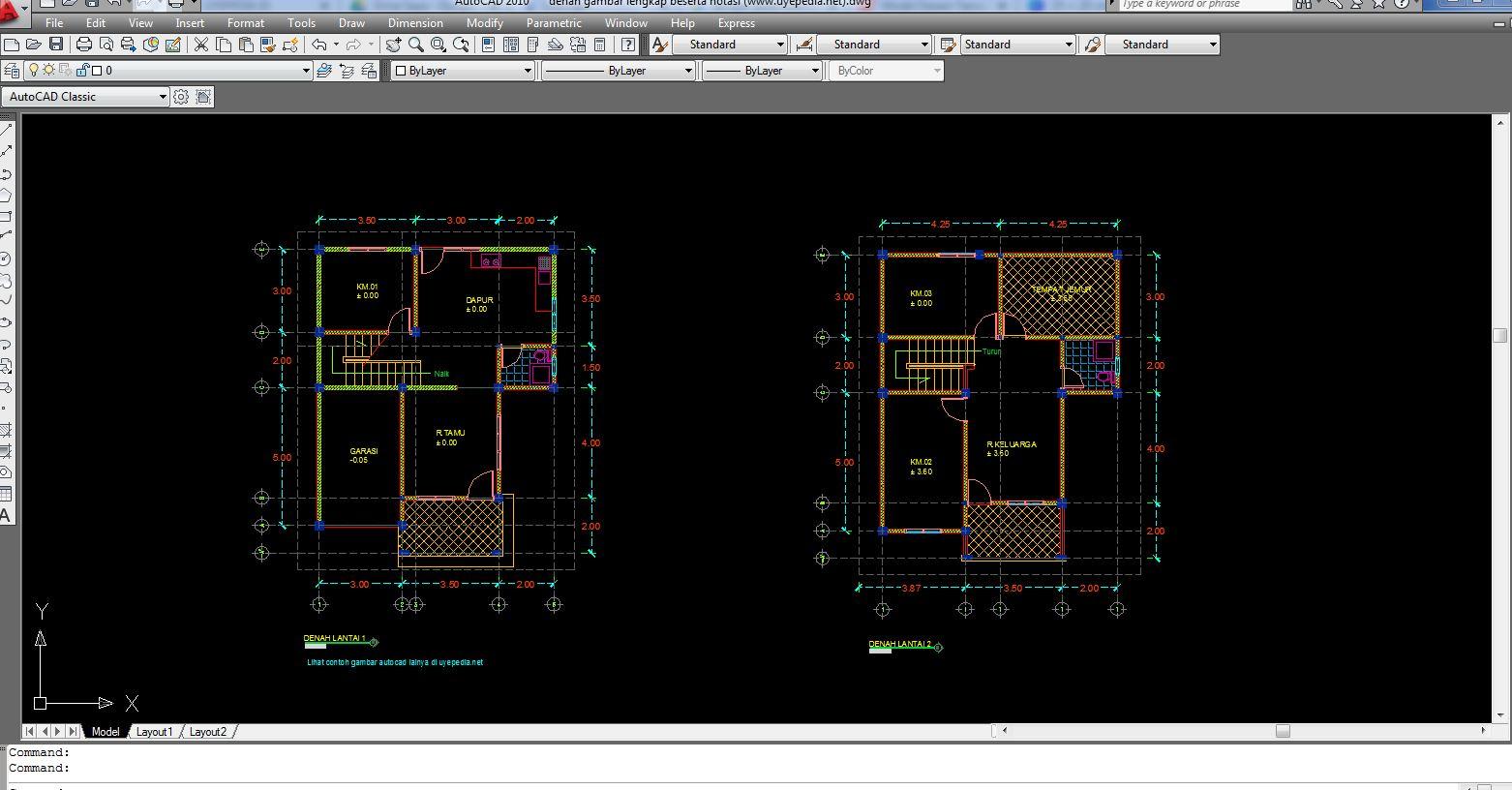 Contoh Gambar Denah Rumah 2 Lantai Autocad Dwg Lengkap Beserta Notasinya
