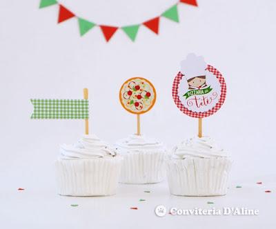 festa aniversario pizzaria decoracao topper personalizado