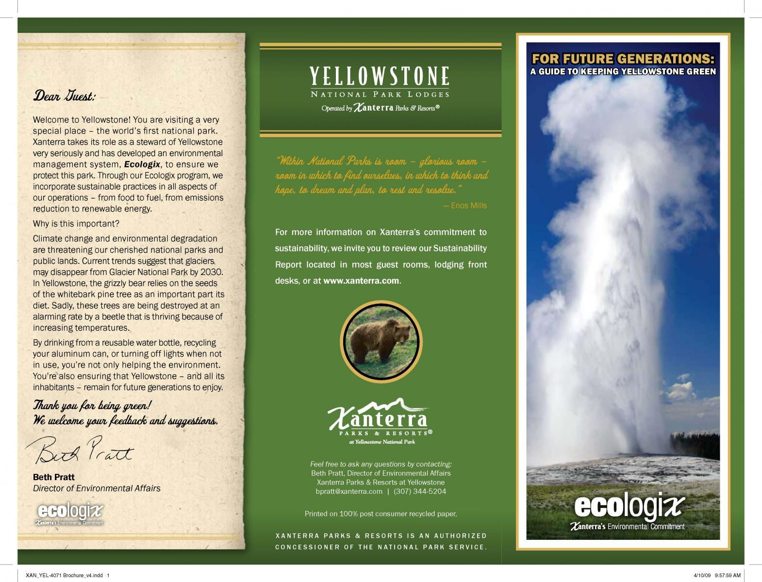 Brochure Zafira Pics Brochure Yellowstone National Park