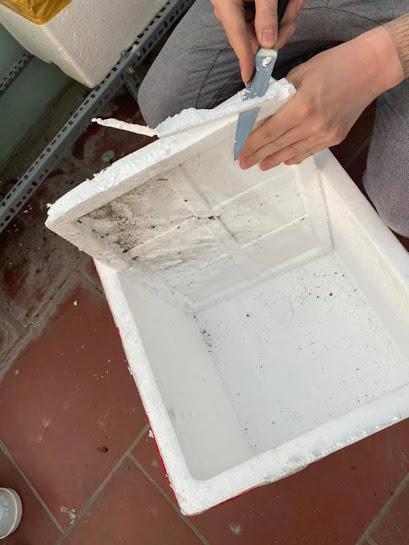 Cắt gọt phần Nắp thùng xốp cho vừa với thùng