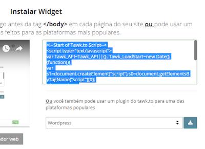 codigo fonte para instalação de chat no blog