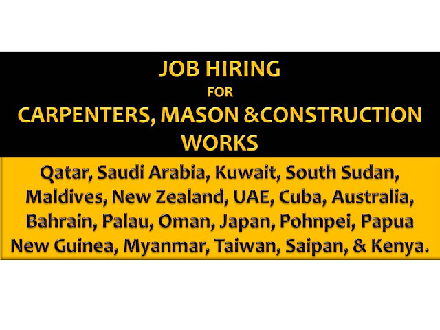 Another job opportunities for Filipinos who want to try their luck working in other countries as mason, construction workers and carpenters.   If you are interested, scroll down below to see the list of job orders from the website of Philippine Overseas Employment Administration (POEA).   Please be reminded that we are not a recruitment industry and we are not affiliated to any of the agencies mentioned here below. All the job orders were taken from the POEA jobs order website and were only linked to agency details for easier navigation for the visitors.