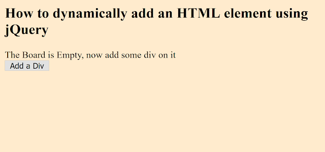 How to dynamically create a div in jQuery? Example