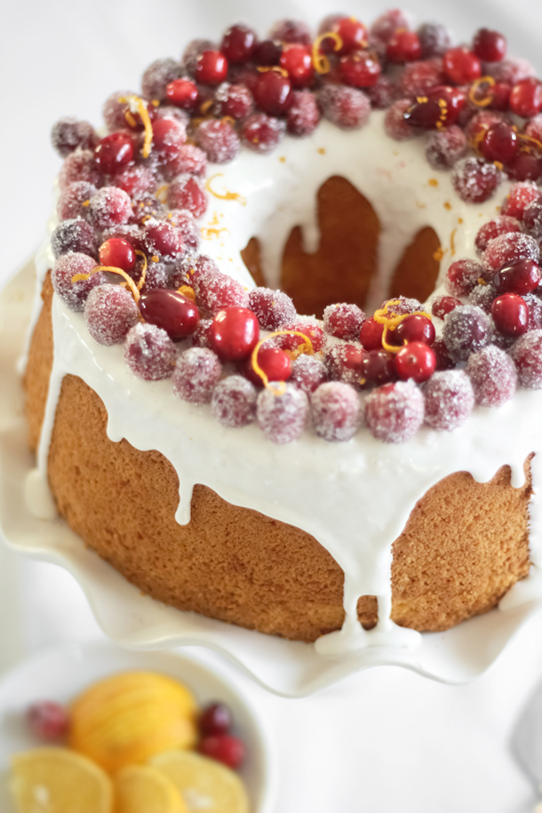 Orange Chiffon Cake with Sparkling Cranberries