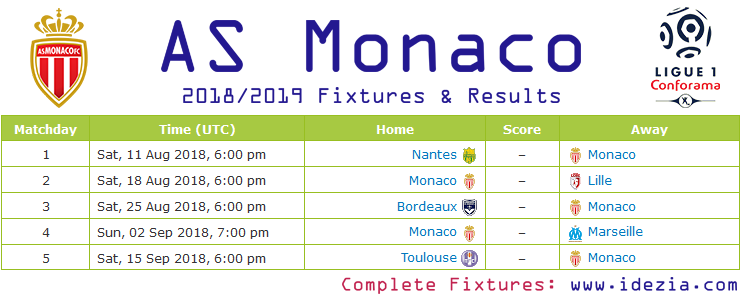 Download Full Fixtures PNG JPG Monaco 2018-2019
