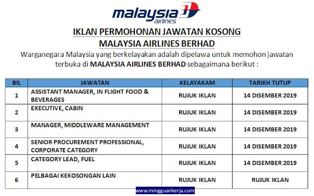 Permohonan Pelbagai Jawatan Kosong di Malaysia Airlines Berhad Disember 2019
