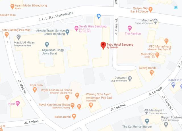 Map Letak Hotel Tebu Bandung
