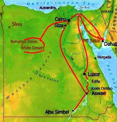 Mapa do roteiro pelo Egito