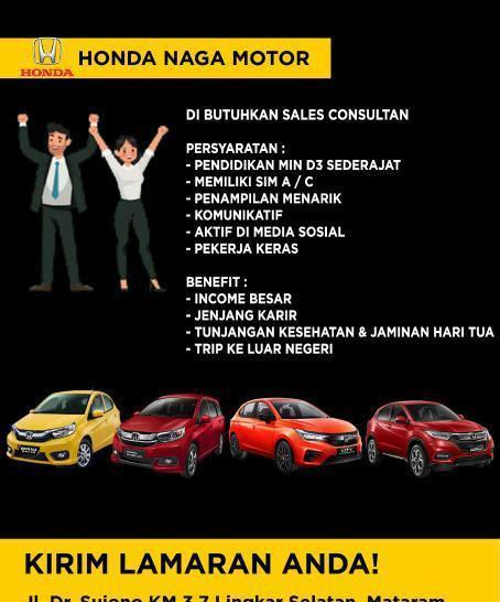 Lowongan Kerja Honda Naga Motor Mataram Lombok NTB