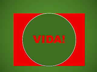 A imagem de fundo verde oliva e no meio fundo vermelho e no cento um círculo em verde oliva, está escrita a palavra vida.