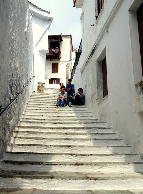 Children on the steps of Skopelos Old Town