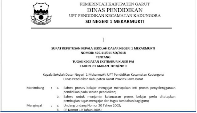SK Kepala Sekolah, PAI dan BP SD 2019/2020
