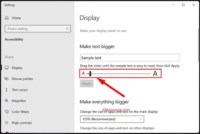 Mengubah Ukuran Font/Huruf Windows 11