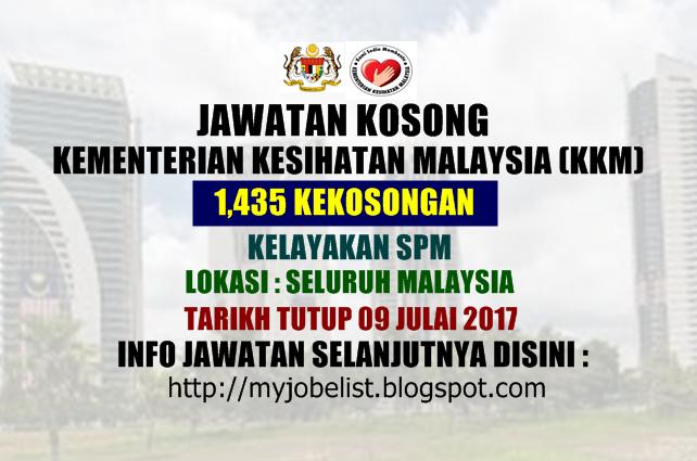 Jawatan Kosong Kementerian Kesihatan Malaysia (KKM) Julai 2017
