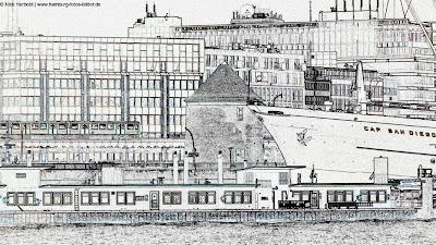Landungsbrücken Hamburg, Konturen, Umriss, Linie, Silhouette, Cap San Diego