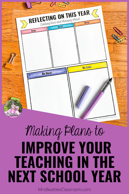"""Photo of """"Reflecting on this Year"""" worksheet with text, """"Making Plans to Help Improve Your Teaching in the Next School Year."""""""
