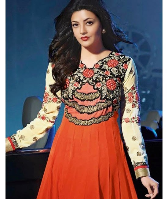 Kajal Agarwal in Orange Designer Dress