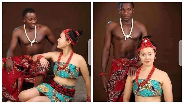 Check out the Lovely pre-wedding photos of a Nigerian man and his Korean bride