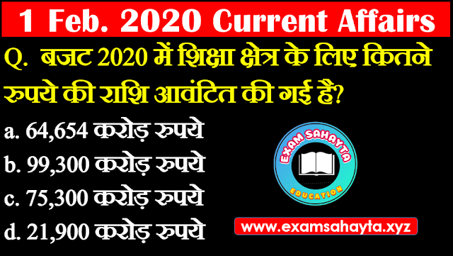 1 February 2020 Current Affairs In Hindi | Hindi Current Affairs Daily Current Affairs | Daily Current Affairs