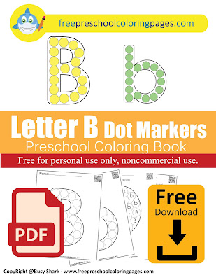 Letter B dot markers free preschool coloring pages ,learn alphabet ABC for toddlers