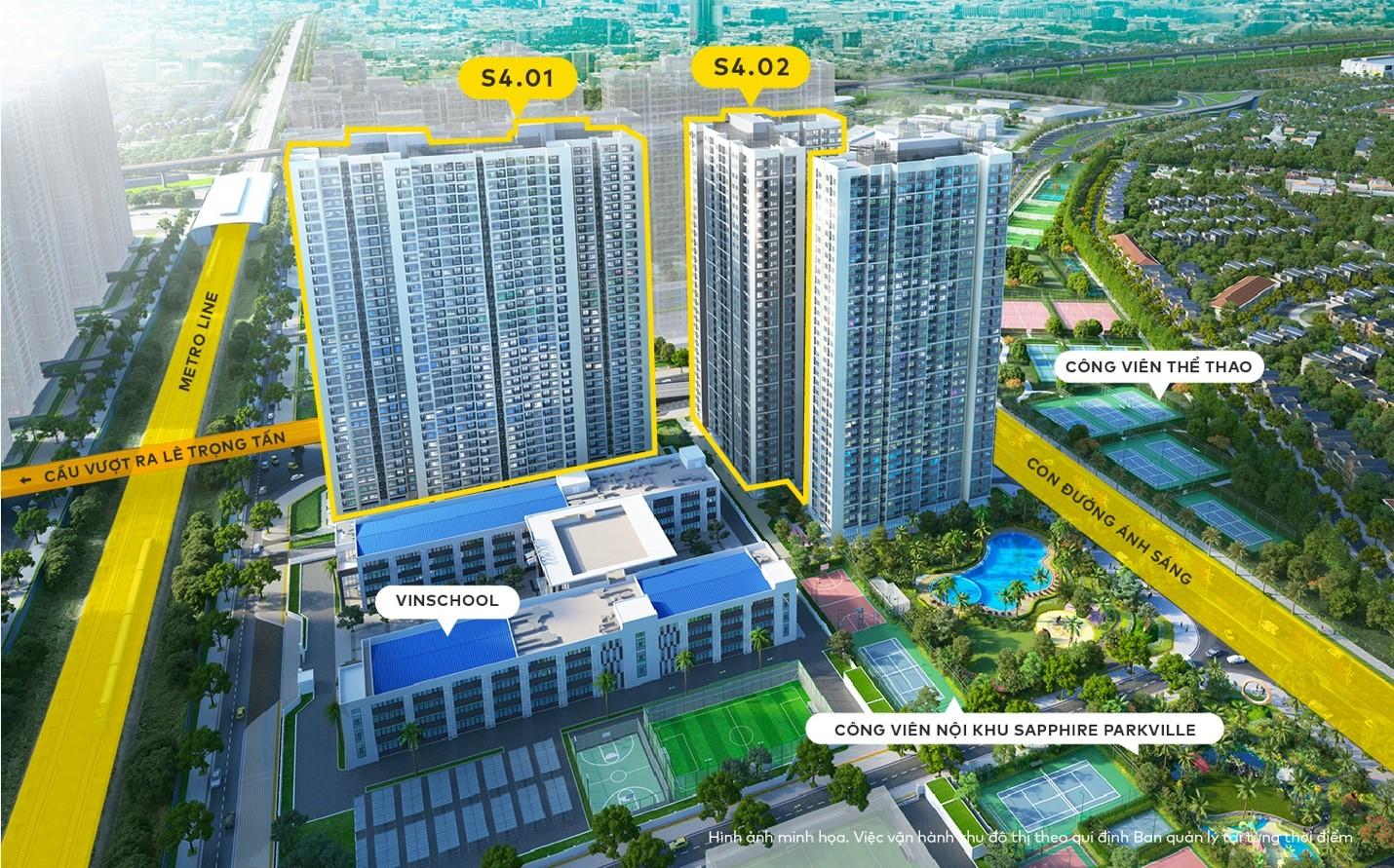 Mặt bằng căn hộ phân khu The Saphire 4 (S4.01-S4.02-S4.03) Vinhomes Smart City