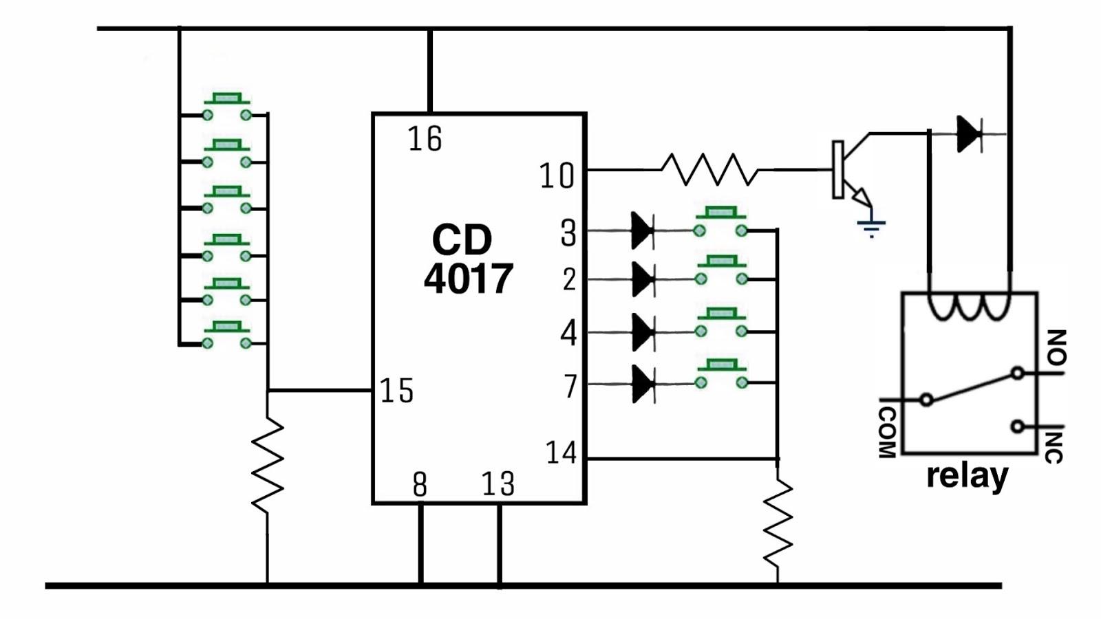 Electronics project: Password lock circuit diagram