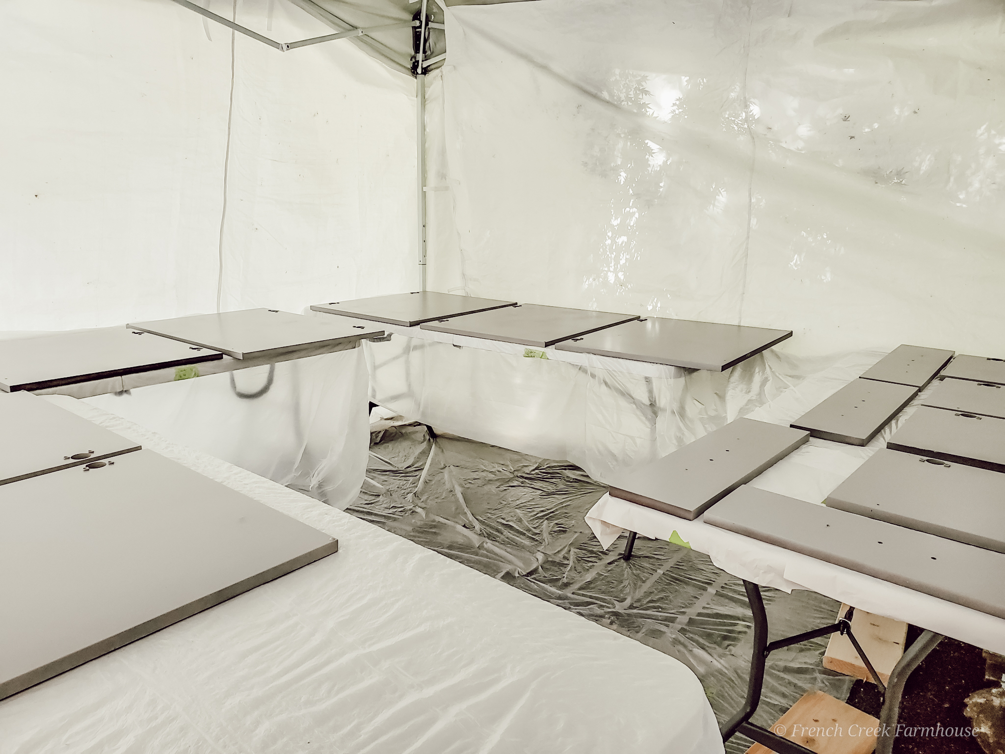 Using a 10x10 pop-up canopy is a simple way to create a paint booth