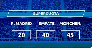 Mondobets SUPERCUOTA Real Madrid vs Monchengladbach 9-12-2020