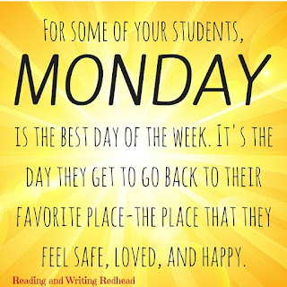 Image stating Monday is the best day of the week for many students